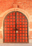Texture of the old red metal door Kremlin, Kazan, Tatarstan, Rus Stock Photos