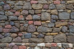 Texture of old rock wall for background, Medieval stone wall.  royalty free stock image