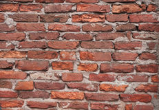 Texture of old rough brick red wall Stock Image