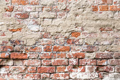 Texture of old rustic brick wall painted with white Stock Photos