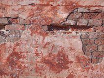 Texture of old rustic wall covered with pink stucco Stock Image