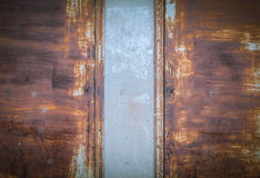 Texture of old and rusty iron gate. Stock Photo