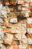 Texture of the old shattered brick walls Stock Photos