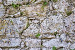 Texture old stone wall of ancient fortress Stock Photos