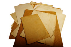Texture old vintage yellowed paper, writing papers Stock Photos
