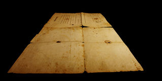 Texture old vintage yellowed paper, writing papers Stock Images