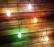Texture of old wall background. Texture of old wooden wall. Horizontal boards illuminated by electric bulbs. 3D rendering Stock Photo