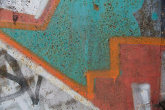 Texture of old wall with colorful graffiti. Background Stock Photo