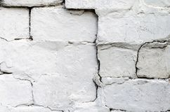 Texture of an old white brick wall Stock Images