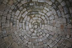 Texture - Old white rock bricks in circles stock images