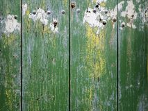 Old wood with rusted nails. The texture of an old wood gate painted green with rusted nails Royalty Free Stock Photography