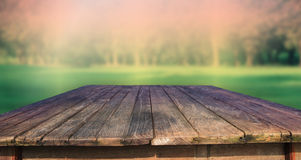 Texture of old wood table and green park backgroun