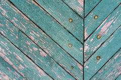 Texture of old wood with worn green paint Royalty Free Stock Image