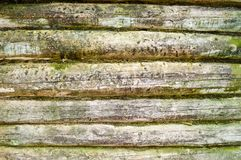 The texture of the old wooded wall of logs thrown by green moss, a fence of horizontal, dilapidated rotten boards of different siz. Es with cracks and knots Royalty Free Stock Images