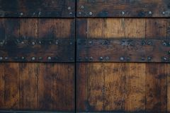 Old wooden door in Europe. This is a texture of an old wooden door in Europe Stock Image