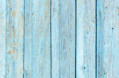 Texture of old wooden fence with cracked blue paint Stock Photography