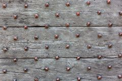 Texture of the old wooden gate with copper thorn stock image