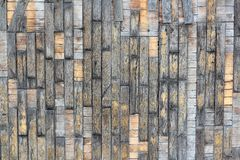 Texture of old wooden parquet with the remains of yellow paint.  Royalty Free Stock Photo