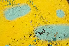 Texture of old yellow-blue painted wall royalty free stock photos