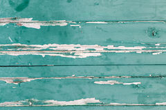 Texture of orizontal wood panels with green paint peeling of Royalty Free Stock Photo