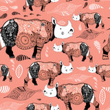 Texture ornamental rhinos Royalty Free Stock Images