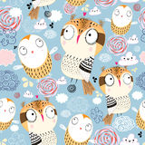 Texture owls in the clouds stock illustration