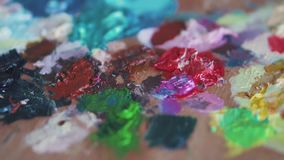 Texture paint on the palette.  stock footage
