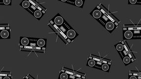 Texture pattern black and white seamless old retro antique vintage hipster musical  recorder  audio cassettes from the 80`s, 90`s. Texture pattern black and Stock Photography