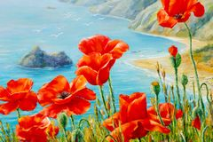 Texture, pattern, canvas painted in oils. The picture painted po. Ppies on frne blue sea (ocean). a herbaceous plant with showy flowers, milky sap, and rounded Royalty Free Stock Photo