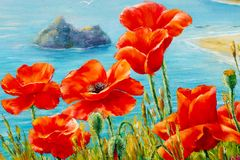 Texture, pattern, canvas painted in oils. The picture painted po. Ppies on frne blue sea (ocean). a herbaceous plant with showy flowers, milky sap, and rounded Stock Image