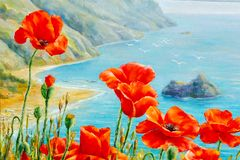 Texture, pattern, canvas painted in oils. The picture painted po. Ppies on frne blue sea (ocean). a herbaceous plant with showy flowers, milky sap, and rounded Stock Images