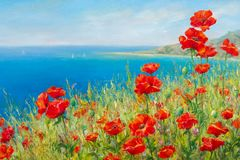 Texture, pattern, canvas painted in oils. The picture painted po. Ppies on frne blue sea (ocean). a herbaceous plant with showy flowers, milky sap, and rounded Stock Photography