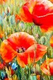 Texture, pattern, canvas painted in oils. The picture painted po. Ppies a herbaceous plant with showy flowers, milky sap, and rounded seed capsules Stock Images