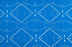 Texture pattern. Cloth blue dense with perforated holes. For the. Avant-garde or not very serious take in your design. Covered in different areas round holes royalty free stock photo
