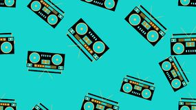 Texture pattern multi-colored seamless  audio recorder for film audio cassettes 80`s, 90`s. The background. Vector illustration. Texture pattern multi-colored Stock Photo
