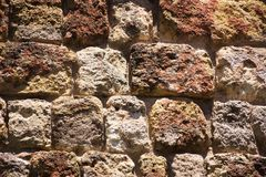 Stone wall pattern image,stone wall pattern picture,  masonry, stone wall pattern viewing, texture, wallpaper. Wall made of natural stones of various raw color Royalty Free Stock Photo