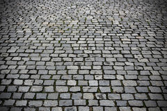 Texture paved road. Paving stones street closeup background Stock Photo