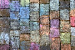 Texture of paving slabs in different colors of chalk. stock photos