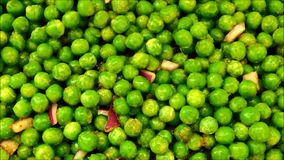 Texture of peas. In the kitchen stock video