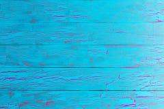 Texture peinte par craquement en bois de bleu de turquoise Images libres de droits
