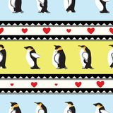 Texture with penguins, triangular design, hearts Stock Photography