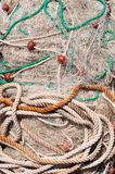 Texture of pile of fishing nets with floats Stock Images