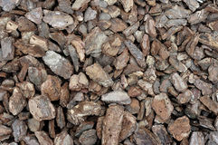 The texture of a pile of pine bark.  Stock Image