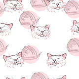 Texture, pink cat and ball of threads Royalty Free Stock Images