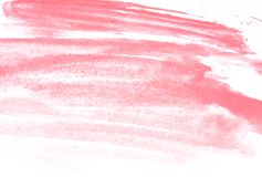 Texture of pink watercolor paint on white paper. Horizontal watercolour background. Rectangular photo Stock Image