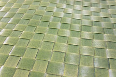 Texture of plastic green woven mat Royalty Free Stock Photo
