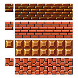 Texture for platformers pixel art vector - brick stone wall Royalty Free Stock Image