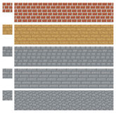 Texture for platformers pixel art vector - brick, stone and wood wall Stock Photo