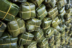 Texture of pork wrap by banana leaves Stock Photo