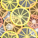 The texture of portions of lemons. Seamless texture of decorative colored lemons on a dark background Stock Image